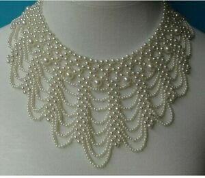 Women Wavy Pearl Fake Collars Hollow Hand-woven Fashion Pearl Necklace Chain