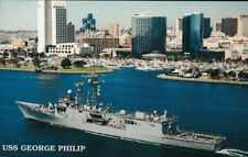 USS George Philip FFG-12 postcard  US Navy warship Guided Missile Frigate