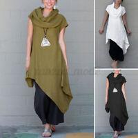 ZANZEA Femme Haut Shirt Tops Casual en vrac Loose Manche Courte Asymétrique Long