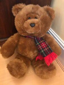"BHS TD BEAR TEDDY WEARING TARTAN SCARF SOFT PLUSH TOY 15"" BRITISH HOME STORES"