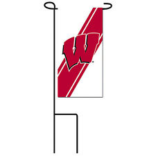 Wisconsin Badgers Mini Flag & Black Metal Pole! Set Of 2! Make An Offer!