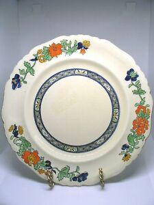 """Two (2) Mason's """" Patent Ironstone"""" Plates Ivory with Orange, Blue&Green Flowers"""