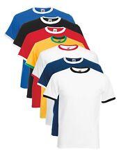 Hombre Manga Corta Algodón Cuello en Contraste Hoops Camiseta Ringer No Logo
