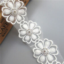 1yd Flower Diamond Lace Edge Trim Wedding Dress Ribbon Applique DIY Sewing Craft