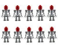 Lego 10 Gris Squelette Rouge Diable Tête Mini Figure Figurine Neuf