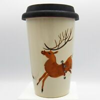Longaberger Christmas Reindeer Travel Coffee Cup Mug Jingle Bell Harness Holiday