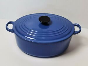 "Le Creuset Oval Cast Iron Large Casserole Dish Marseille Blue 29cm ""DAMAGED"""