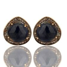 Pave Diamond Blue Sapphire Cufflinks 18K Gold Plated 925 Sterling Silver Jewelry