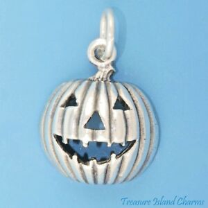 Jack-O-Lantern Halloween Pumpkin 925 Sterling Silver Charm Pendant MADE IN USA