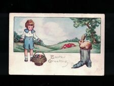 1922 Boy & Basket With Eggs & Rabbit on Stump Embossed Easter Greeting Post Card