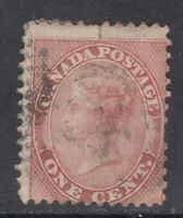 "Canada Scott #14viii 1c rose PERF 12 x 11 3/4 Queen Victoria ""First Cents""   F"