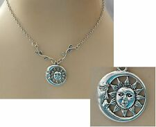 Silver Moon Face & Sun Pendant Necklace Jewelry Handmade NEW Chain Accessories
