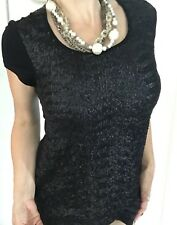 CHARLIE BROWN WOMENS TOP BLOUSE SHORT LONG BLACK SEQUINS STRETCH SZ 8