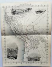 PERU AND BOLIVIA - FINELY ENGRAVED TALLIS / RAPKIN MAP, 1851 WITH FINE VIGNETTES