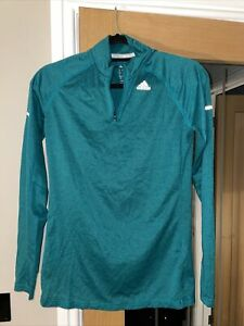 Adidas Teal Green Long Sleeved Running Zip Up Top Size M 12-14