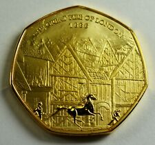 THE GREAT FIRE OF LONDON 1666 24ct Gold Commemorative Coin Albums/50p Collectors