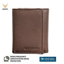 Berreri Mens Trifold Genuine Leather Wallet Credit Card Purse Boxed US Stock