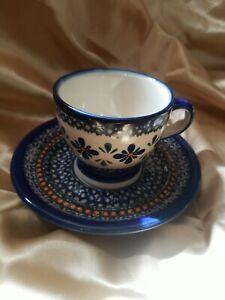 BOLESLAWIEC Polish Pottery Hand Painted CUP & SAUCER