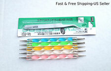 5 Two-way Nail Dotting Pens & 1 Steel Nipper Tweezer (Nail Art Decoration Tools)