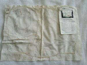 FAUTLEYS NEEDLEWORK GARDEN Vintage Stamped linen Vanity duchess set doily tags