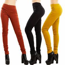 Pantaloni donna aderenti vita alta leggings skinny basic bottoni TOOCOOL S5532