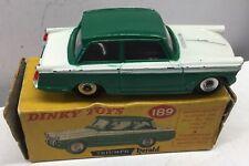 DINKY TOYS 189 TRIUMPH HERALD GREEN &  WHITE.GOOD IN ORIGINAL WORN BOX