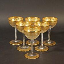 Saint Louis THISTLE Prunk Gold 6 x Sherry Sherrygläser Kristallglas Frankreich