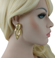 """Statement Clip On Earrings Large Abstract Door Knocker Gold Tone 2 1/4"""""""