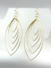 CHIC Lightweight Urban Anthropologie Graduated Gold Oval Rings Dangle Earrings