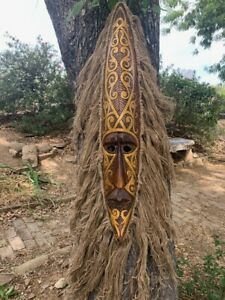 "Tribal Primitive African Tiki Wood Wall Mask Patio Tropical Bar Tattoo Art  39"""