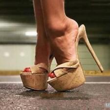 Sexy Sommer Stiletto Sandalen Extreme High Heels Mules Damen Schuhe Holz-Optik