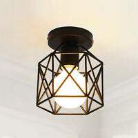 E27 Vintage Metal Cage Industrial Wire Frame Pendant Ceiling Light Lamp Shade UK