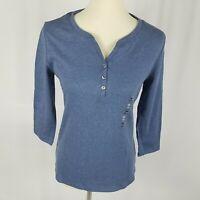 New Karen Scott womens top size PS blue 3/4 sleeves split neck buttons