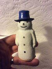 Antique German Christmas Snowman Candy Container-Blue Hat