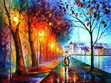 "CITY BY THE LAKE   —  Oil Painting On Canvas By Leonid Afremov - Size:40""x30"""