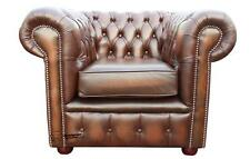 Chesterfield London English Low Back Club Armchair Brown Leather