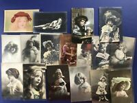 17 Children French Style Antique Postcards w Raised Paint & Glitter Nice w Value
