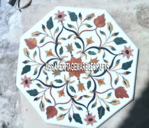 White Marble Coffee Table Top Marquetry Hakik Inlaid Floral Garden Decor H3197