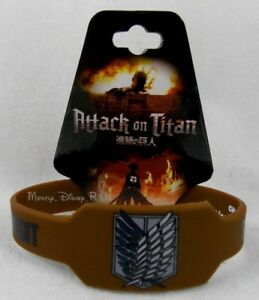 New Attack On Titan Kahki Scout Regiment Shield Rubber Bracelet Wristband Anime