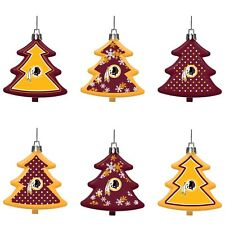 Washington Redskins Shatterproof TREES Holiday Christmas Ornaments Set 6 pack