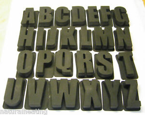 """SILICONE LETTER MOULDS - SINGLE - Alphabet Wedding Flowers Wax Cake 4.5"""" high"""