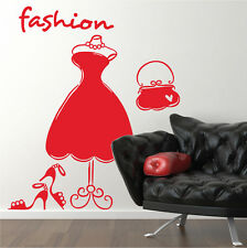 Fashion Dress Mannequin Shoes Bags Vinyl Wall Art Stickers, Wall Decals