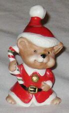 """Red White 3"""" Homco Mouse in a Santa Hat Figurine with Candy Cane"""