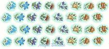 Ceramic Decals Floral Bits 8 designs Blue Pink Purple 5/8 inch