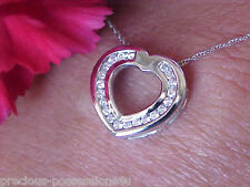 $1,498 SWEETHEART BLING! 14K CHANNEL SET 34 WHITE DIAMOND HEART PENDANT W/CHAIN