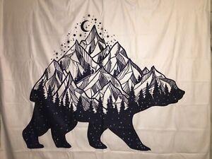"NEW 60""x52"" Velvety Bear Shape Mountain Lake Moon Star White Tapestry Wall Decor"