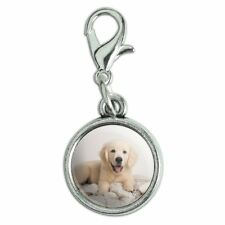 Golden Retriever Puppy Dog and Blanket Bracelet Charm with Lobster Clasp