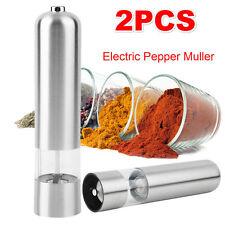 2X Molino Triturador electrico de sal y pimienta alimentado por batería de Acero Inoxidable Redondo
