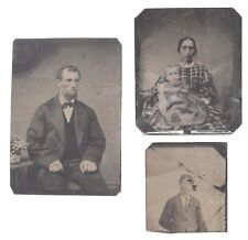 Three Antique Tintype Photographs: Rare Native American and Married Couple