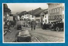 1930'S RP PC MAIN STREET, GRUYERES, SWITZERLAND SHOWING OLD GRAIN MEASURES